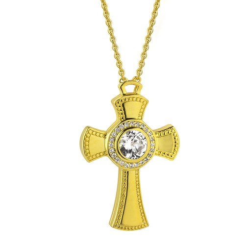 Petra Azar Credo Dazzling Gold Cross Necklace