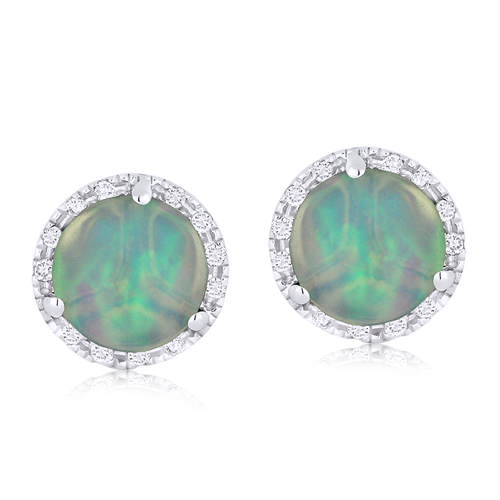 Opal & Diamond 14K Earrings