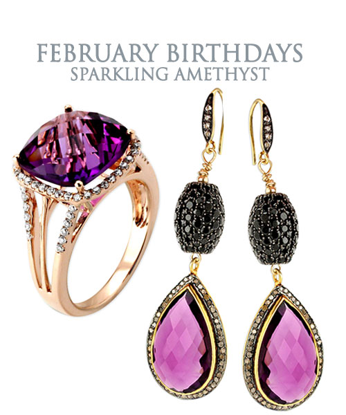 February Birthday Jewelry - Sparkling Amethyst