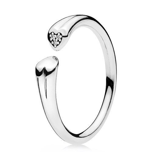 PANDORA Two Hearts Clear CZ Ring