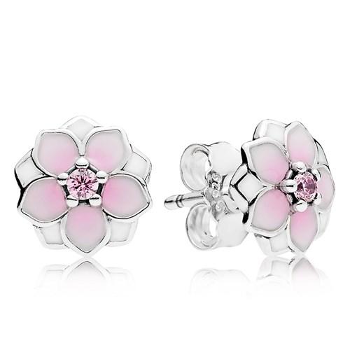 c40329a35 PANDORA Magnolia Bloom, Pale Cerise Enamel & Pink CZ Earrings -  Pancharmbracelets.com