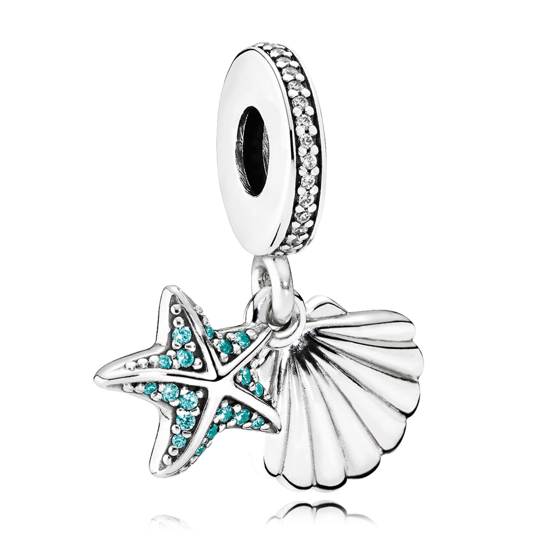 Charm Pandora Tropical Starfish Sea Shell Frosty Mint
