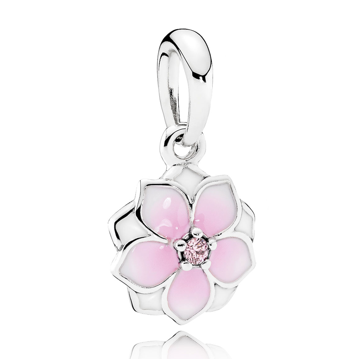 Pandora Magnolia Bloom Pale Cerise Enamel Pink Cz Earrings