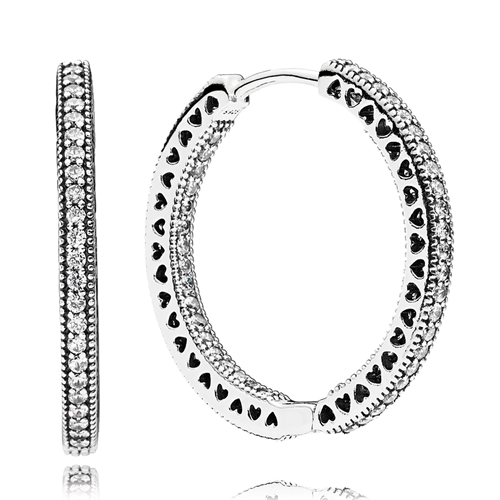 Hearts of PANDORA CZ 27MM Hoop Earrings