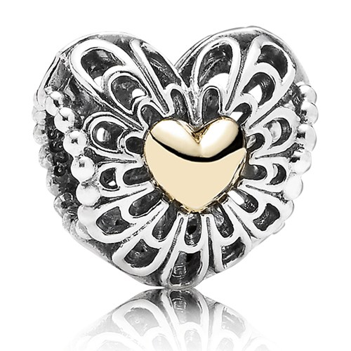 PANDORA Vintage Heart Charm with 14K Charm Limited Edition