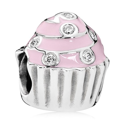 PANDORA Sweet Cupcake with Light Pink Enamel & Clear CZ Charm