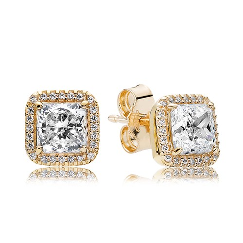PANDORA Timeless Elegance, 14K Gold & Clear CZ Earrings