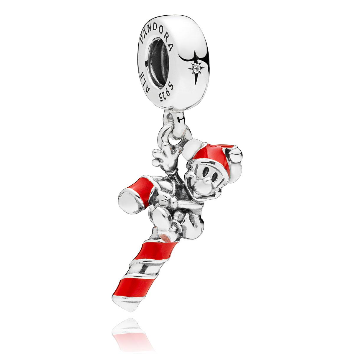 d1e882f25 PANDORA Disney Santa Mickey's Candy Cane Dangle Charm 797500EN09 ...