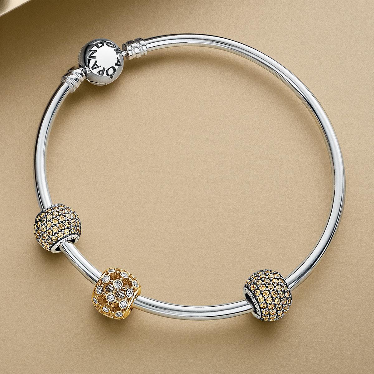 Pandora Sterling Silver With Barrel Clasp Bangle Bracelet 590713