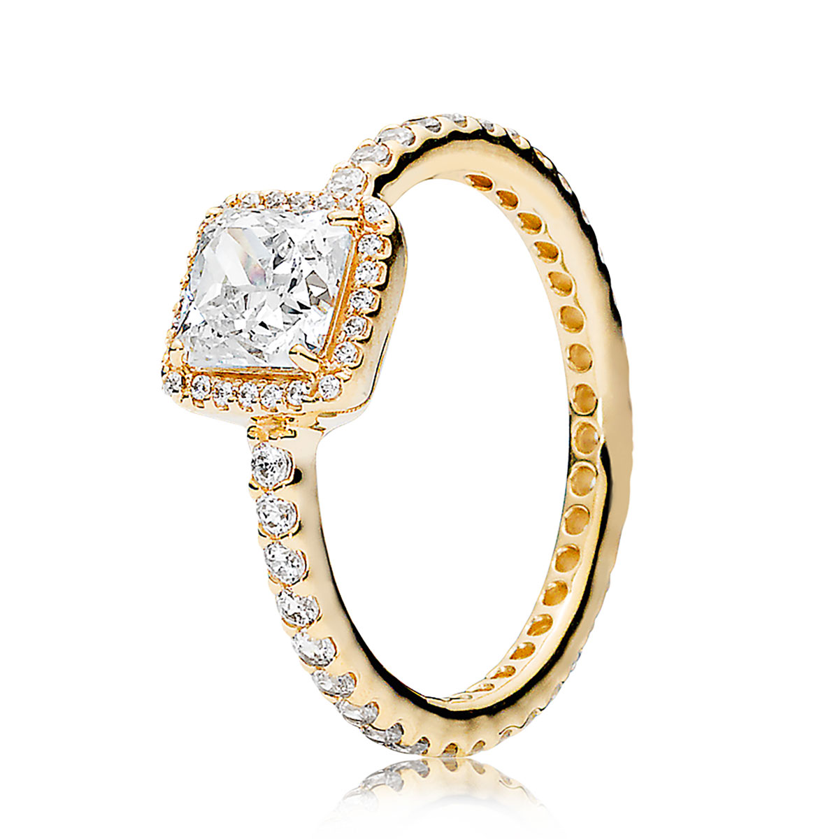 7145b02e0 PANDORA Timeless Elegance, 14K Gold & Clear CZ Ring ...
