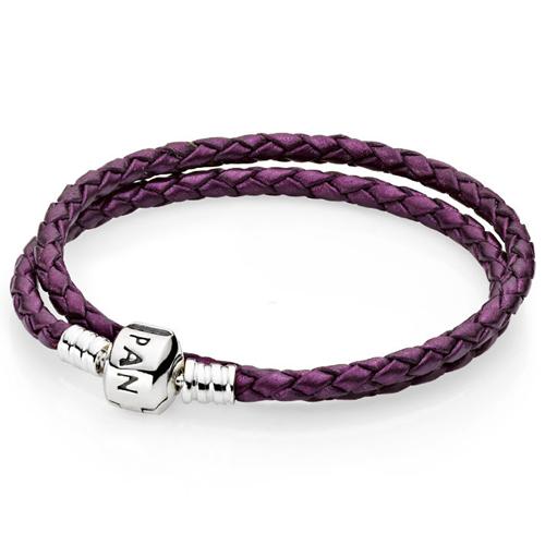 Pandora Purple Double Braided Leather Bracelet