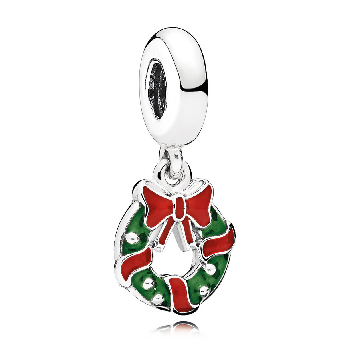 pandora holiday wreath berry red green dangle charm