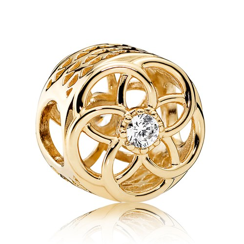 PANDORA Loving Bloom, 14K Gold & Clear CZ Charm