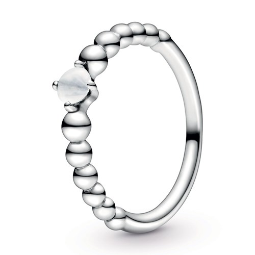 Pandora Milky White Beaded Ring 198598C04