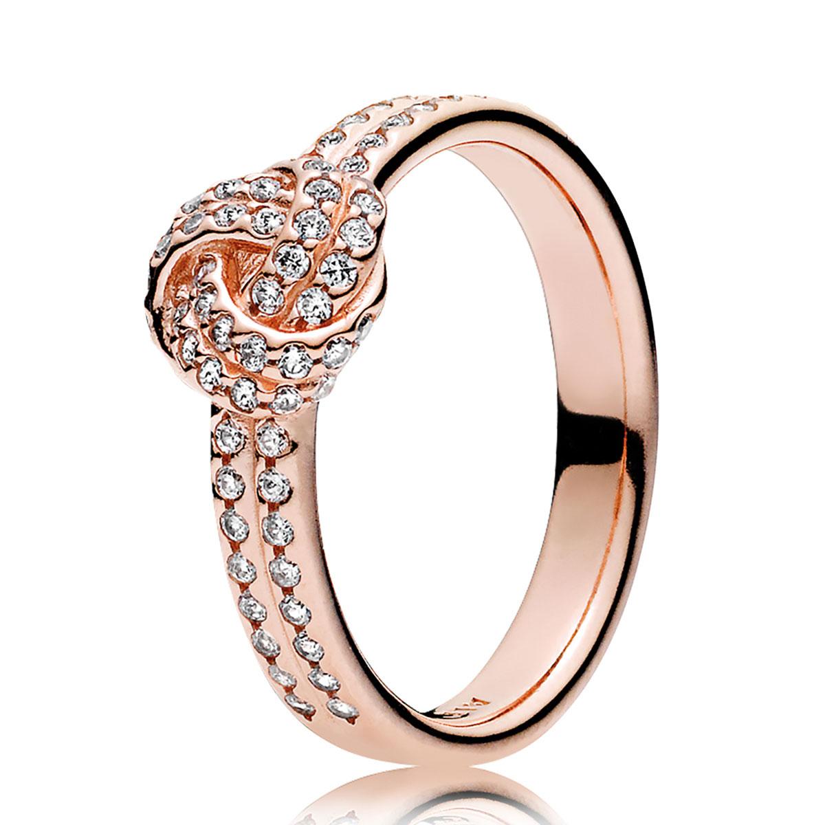 b90607667 PANDORA Rose™ Sparkling Love Knot, Clear CZ Ring ...