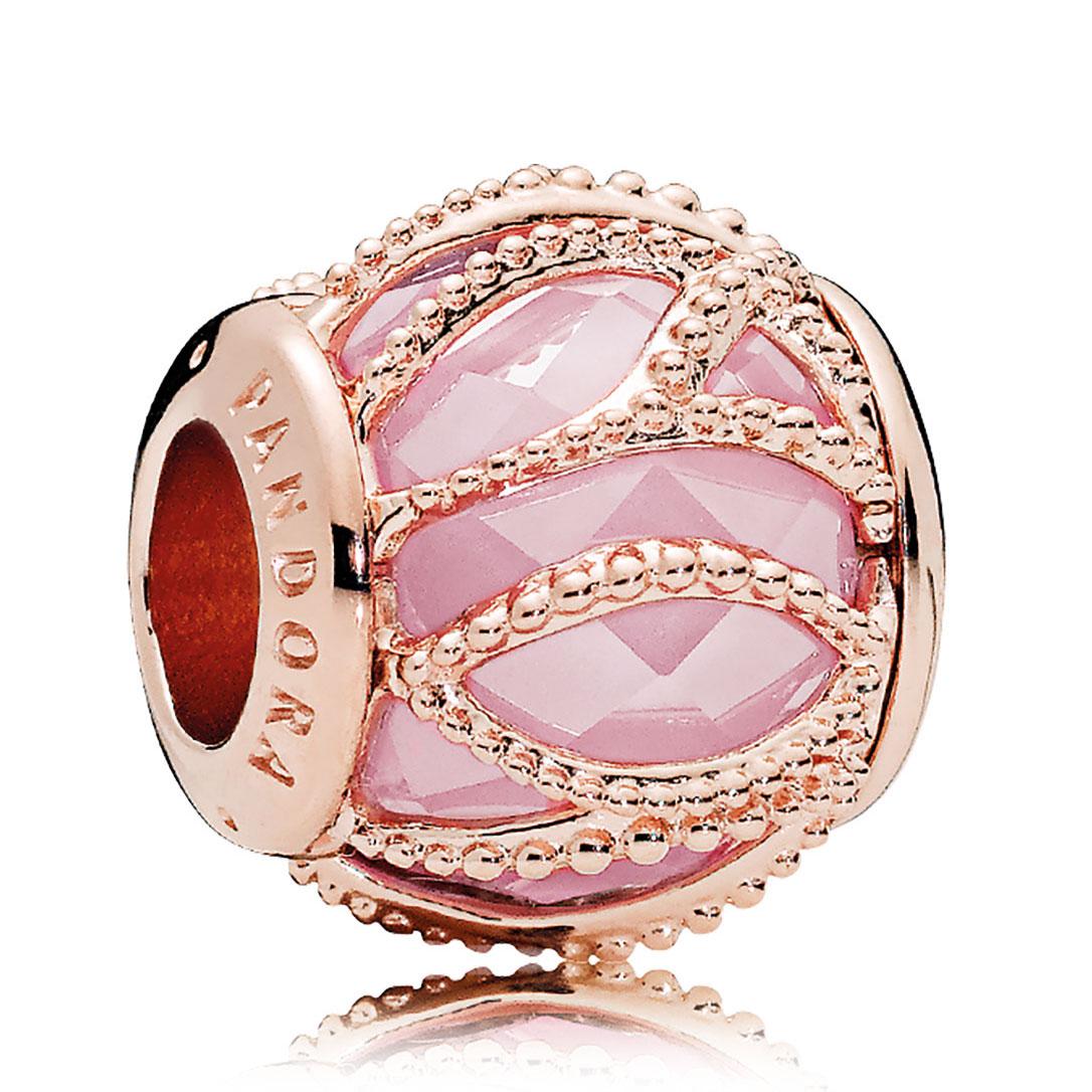 6b6c0d483 PANDORA Rose Gold Pink CZ Intertwining Radiance Charm