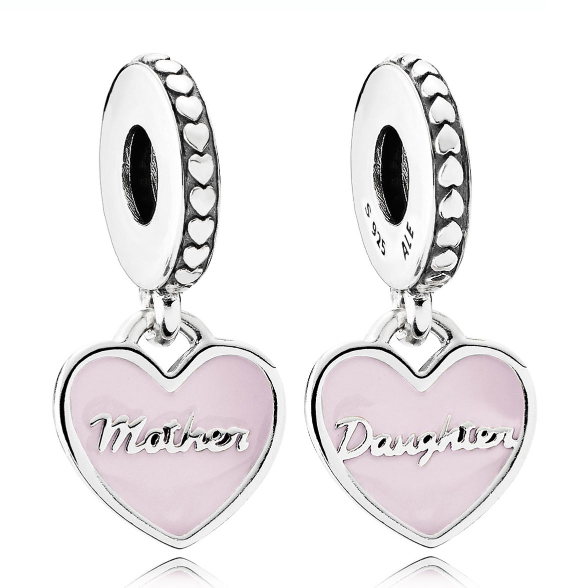 Charm Pandora Mother Daughter Hearts Soft Pink Enamel