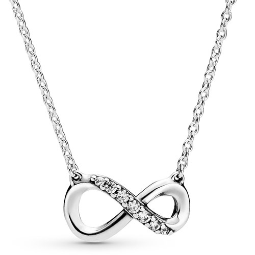 Pandora Sterling Silver Sparkling Infinity Necklace