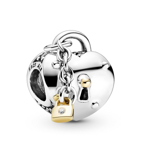 Pandora Two-Tone Heart & Lock 14K Gold Accents Charm 799160C01