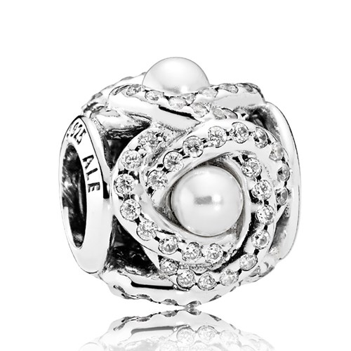 PANDORA Luminous Love Knot, White Crystal Pearl & Clear CZ Charm