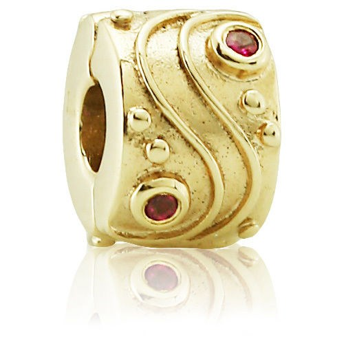 PANDORA 14K Babbling Brook with Ruby Clip RETIRED- ONLY 1 LEFT! 750418RU