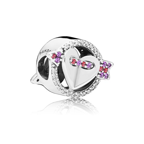 PANDORA Sparkling Arrow & Heart Button Charm 797827CZMX