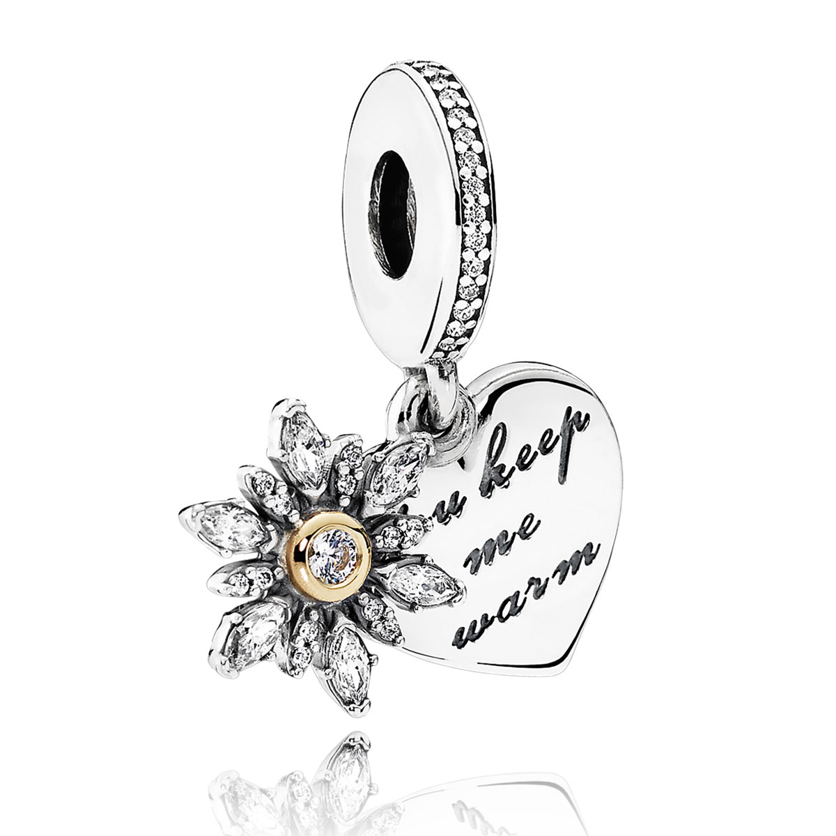 22501b9c9 PANDORA Snowflake Heart Clear CZ Charm