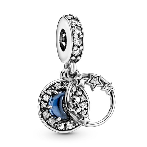 "Pandora Night Sky Crescent Moon & Stars Dangle Engraved with ""I love you more than all the stars in the sky"" Charm 799216C01"