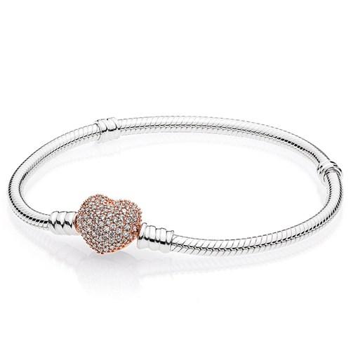 19a8a0a30 PANDORA Rose Gold Sterling Silver Pavé Heart Clasp Bracelet ...