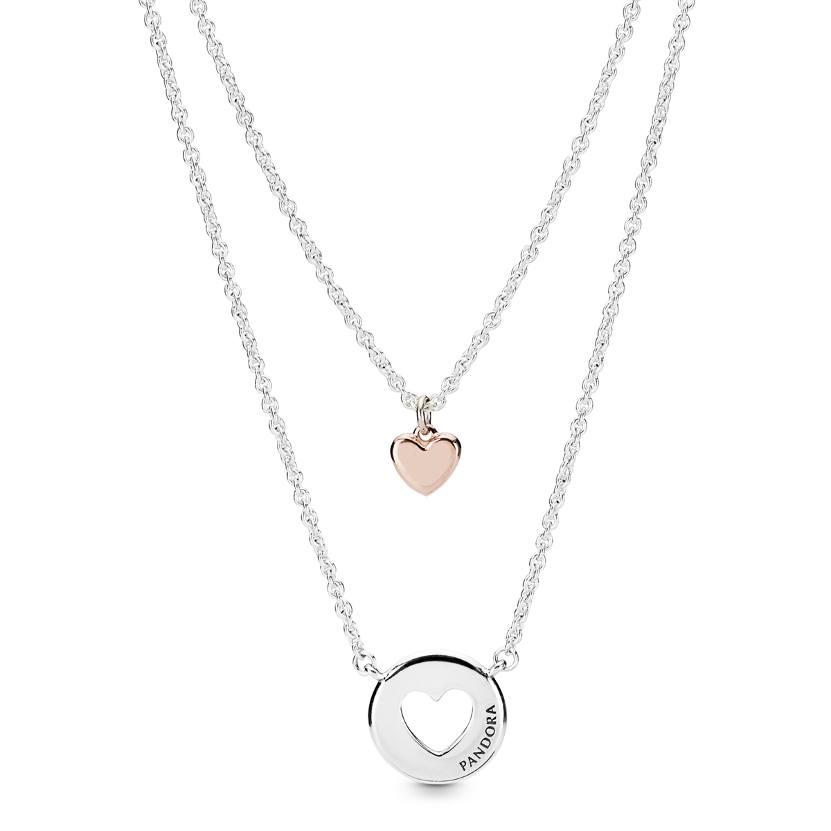 c092cf946 PANDORA Rose™ Layered Heart Necklaces 388083-50 ...