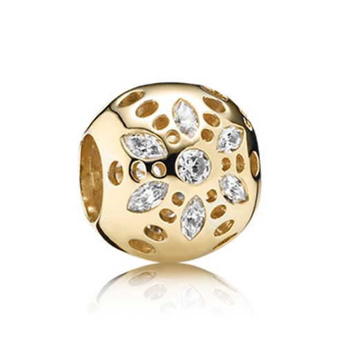 PANDORA 14K Sparkling Bloom with Clear CZ Charm