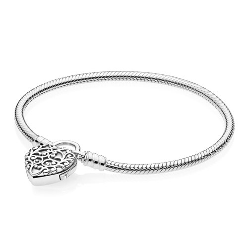 PANDORA Regal Heart Smooth Silver Padlock 597602