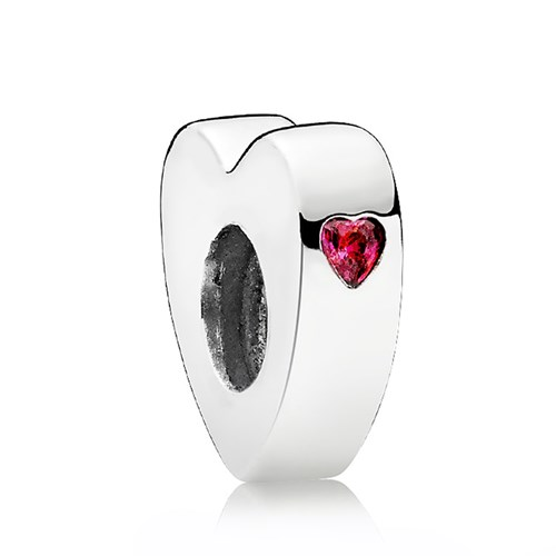 PANDORA Two Hearts Red CZ Spacer