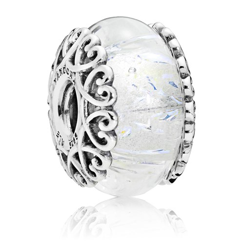 PANDORA Iridescent White Glass Charm 797617