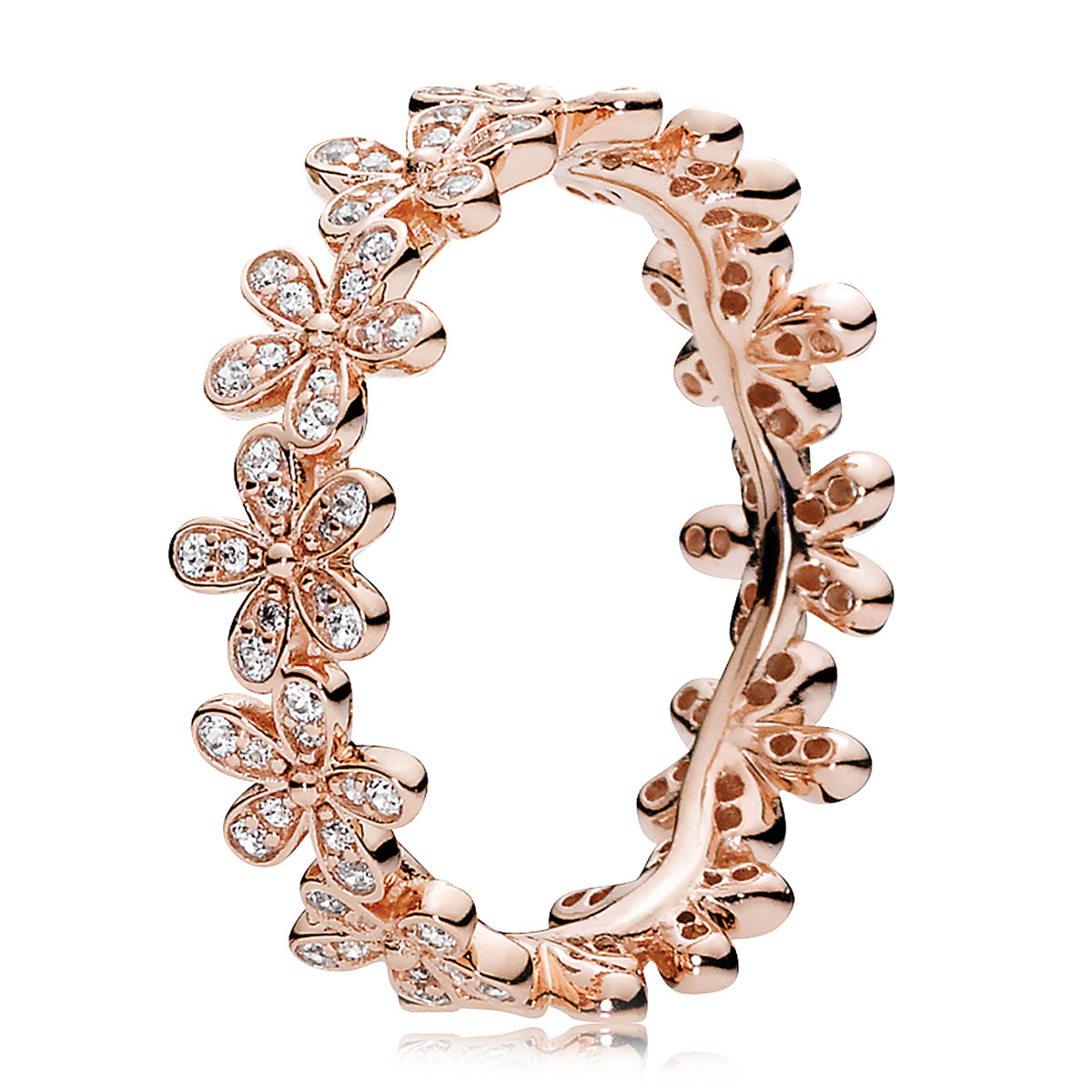 Pandora Rose Dazzling Daisy With Clear Cz Ring Pancharmbracelets