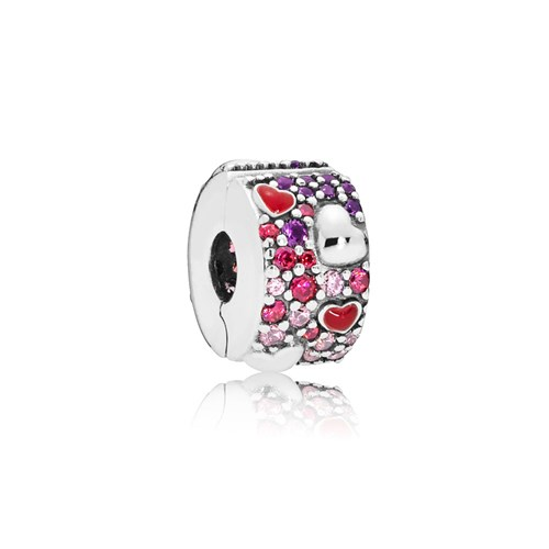 PANDORA Asymmetric Hearts of Love Multicolored Clip 797838CZRMX
