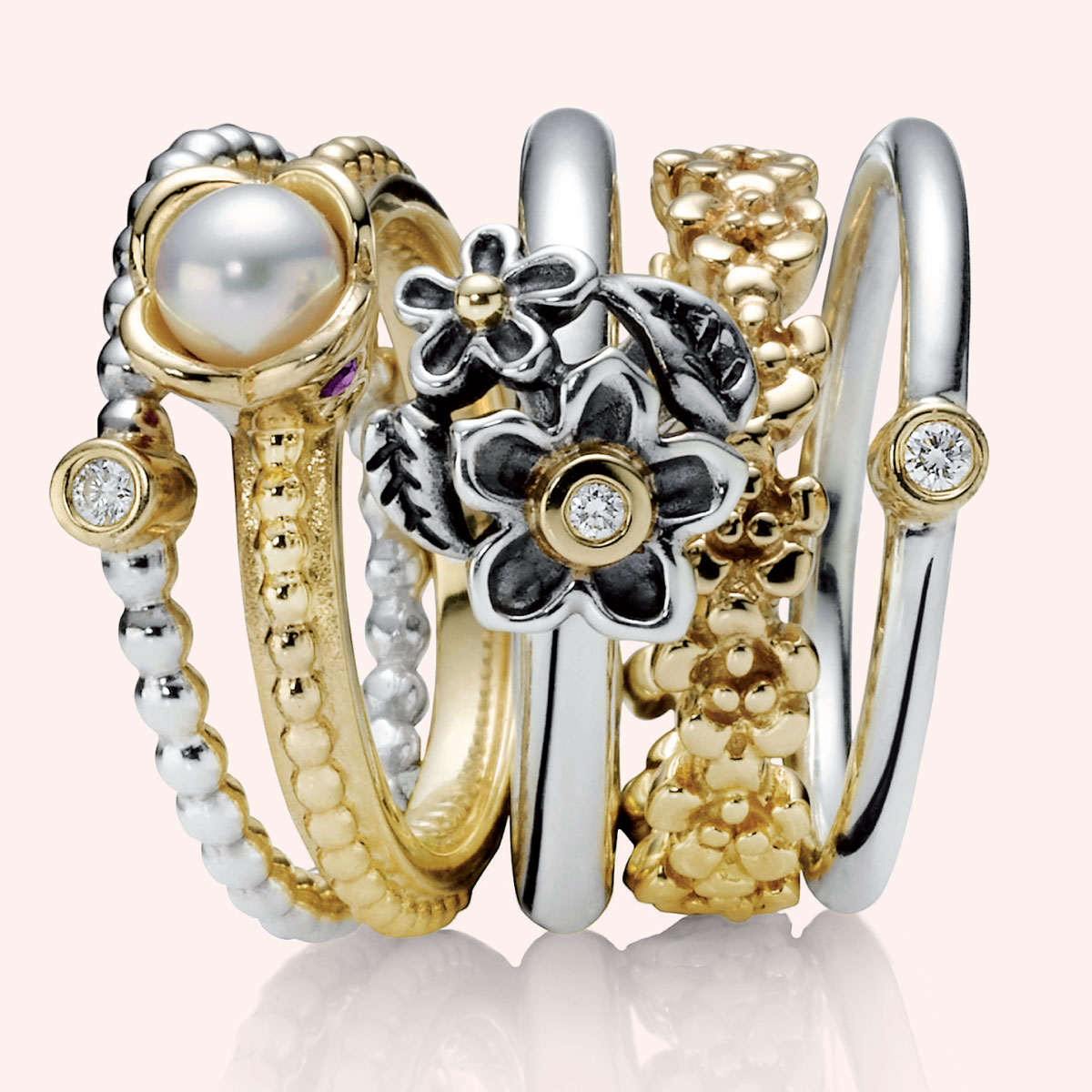 694bb74bc PANDORA Evening Star with 14K & Diamond Stackable Ring -  Pancharmbracelets.com
