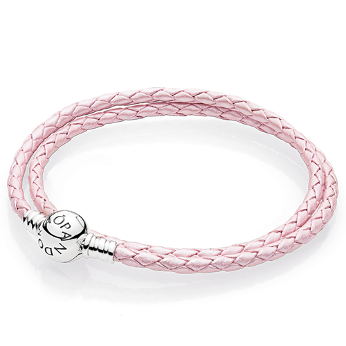 Pandora Pink Braided Double Leather Charm Bracelet