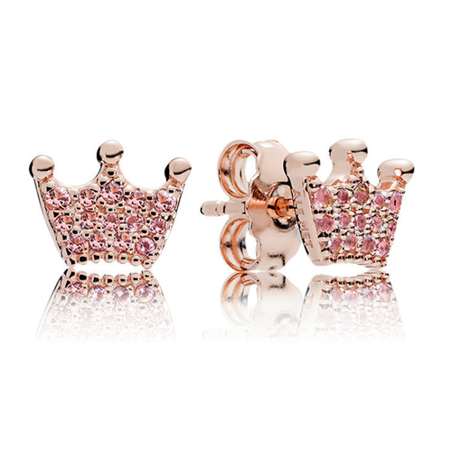 PANDORA Rose™ Pink Enchanted Crowns Stud Earrings
