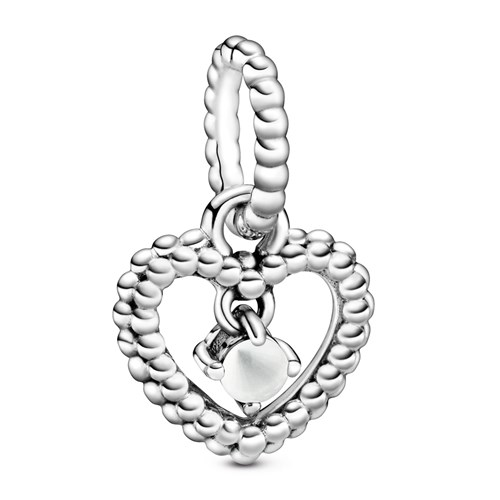 Pandora Milky White Beaded Heart Dangle Charm 798854C04