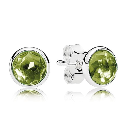 PANDORA August Droplets, Peridot Earrings