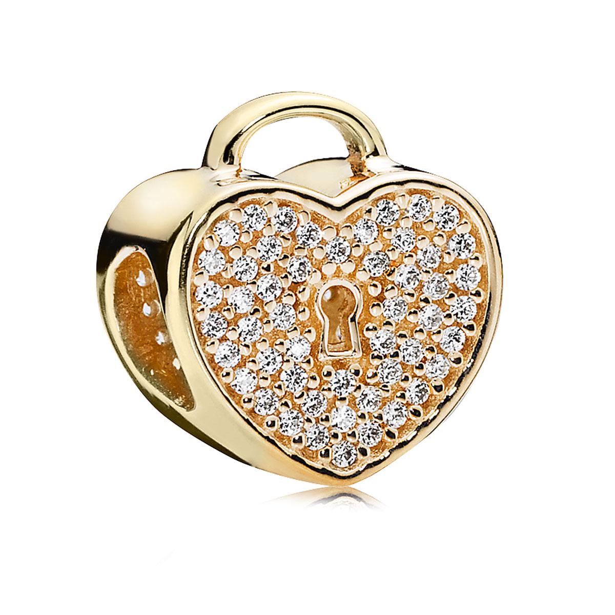 Pandora 14k Heart Lock With Clear Cz Charm