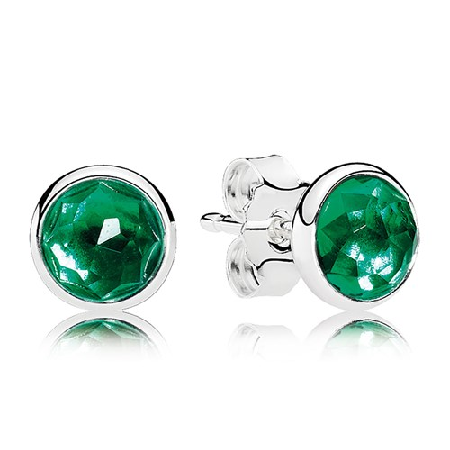 PANDORA May Droplets, Royal-Green Crystal Earrings