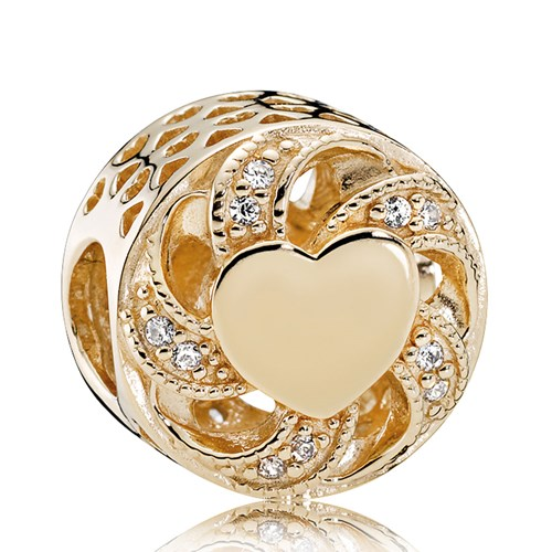 PANDORA 14K Gold Ribbon Heart, Clear CZ Charm
