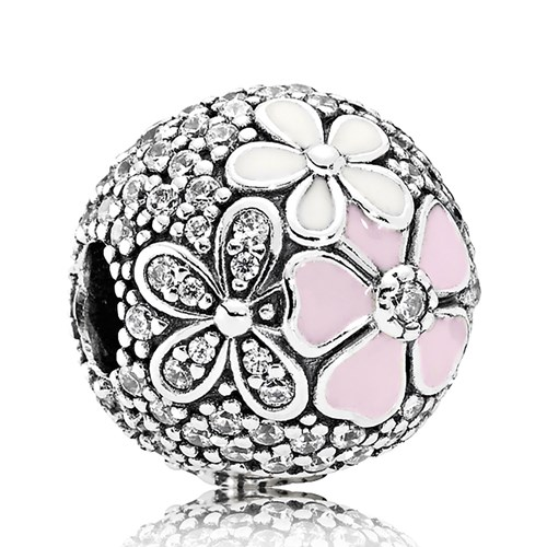 PANDORA Poetic Blooms, Mixed Enamels & Clear CZ Clip