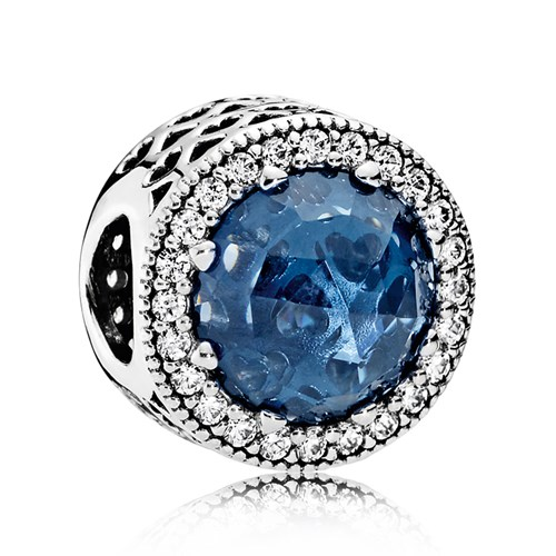 PANDORA Radiant Hearts, Moonlight Blue Crystal & Clear CZ Charm