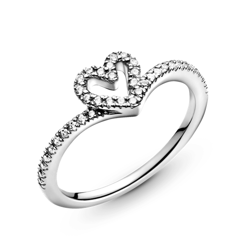 Pandora Sparkling Heart Wishbone Ring