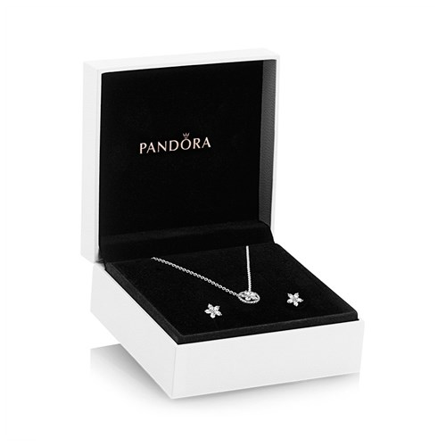 Pandora Sparkling Snowflake Jewelry Gift Set Necklace and Earrings Set with Gift Box & Special Pricing B801424-45