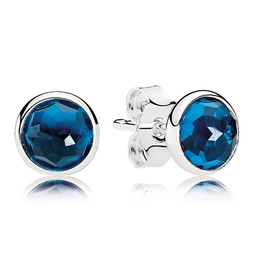 PANDORA December Droplets, London Blue Crystal Earrings