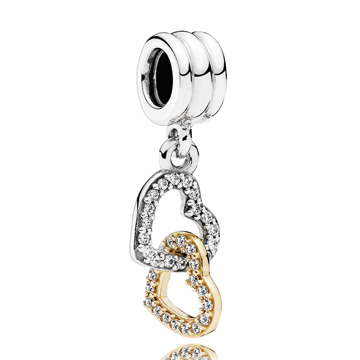 629052405 PANDORA Interlocked Hearts Dangle Charm. PANDORA Interlocked Hearts with 14K  and Clear CZ Dangle